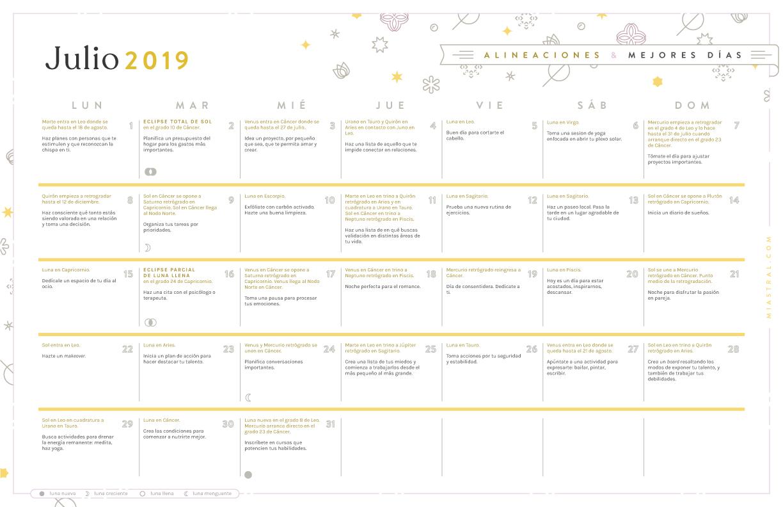 Julio Calendario.Miastral Com